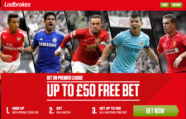 Ladbrokes - $/€ 50 Free Bet Offer