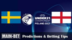Sweden U21 vs. England U21 Predictions & Betting Tips 16/06/2017