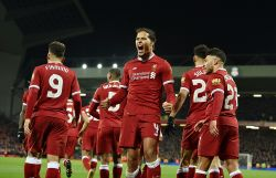 Liverpool 2-1 Everton: van Dijk helps Reds progress with late winner