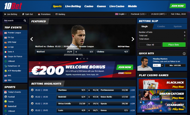 10Bet Bookmaker Detailed Review and Description