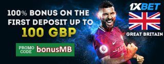 1xBet New Customer Bonus Up To 100 GBP for Bettors in Great Britain