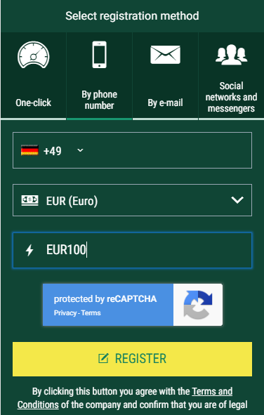 Enter BetWinner Germany promo code as you register