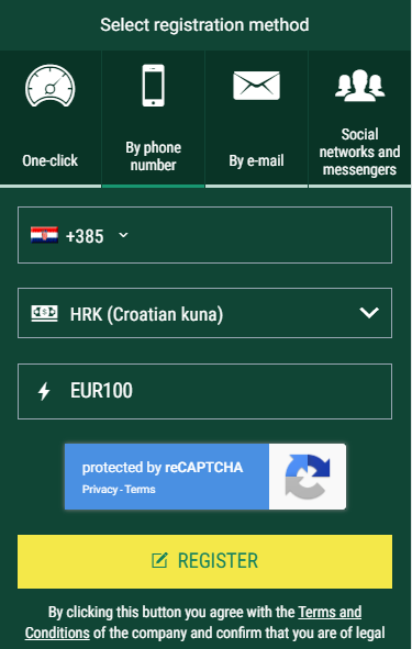 Enter BetWinner promo code for Croatia as you register