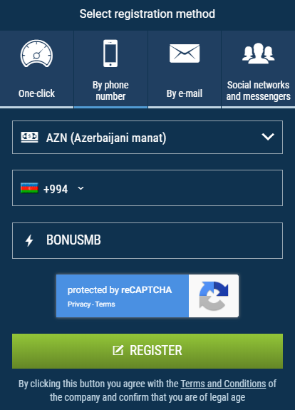 How to register with 1xBet and use 1xBet promo code for Azerbaijan